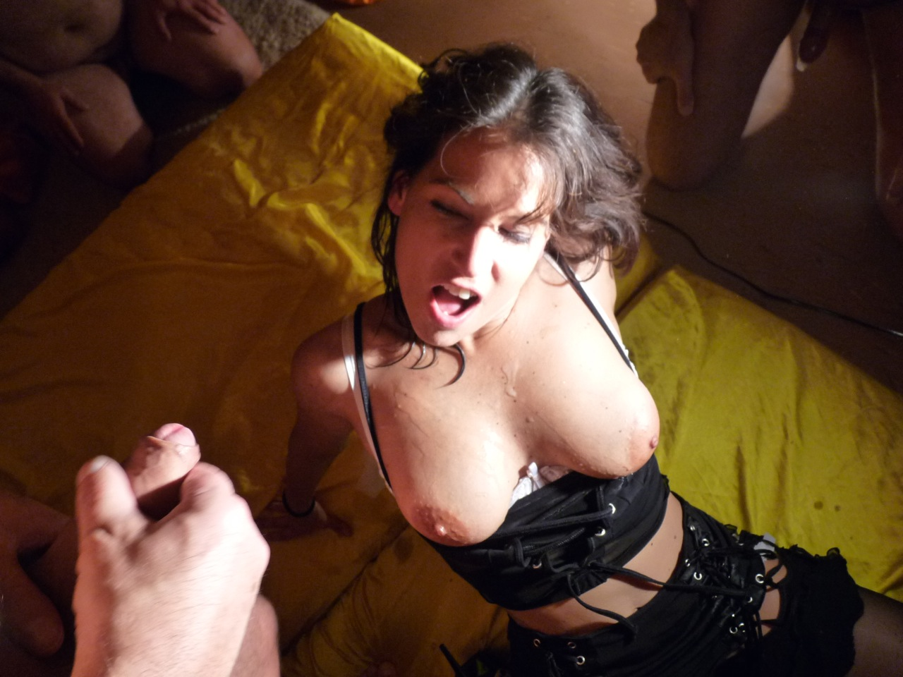 Amateur gangbang in the underground sex club 8